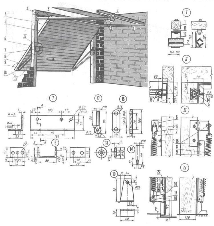 Подъёмные ворота своими руками: советы по выбору материала, готовые чертежи, пошаговая инструкция