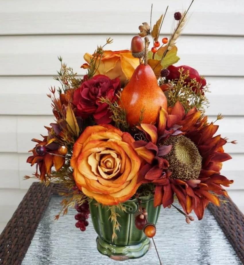 Осенний букет своими руками из листьев, фруктов, овощей, шишек
