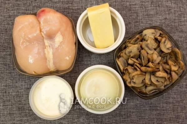 Жульен на сковороде с грибами и курицей