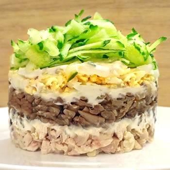 Салат с ветчиной кукурузой и грибами