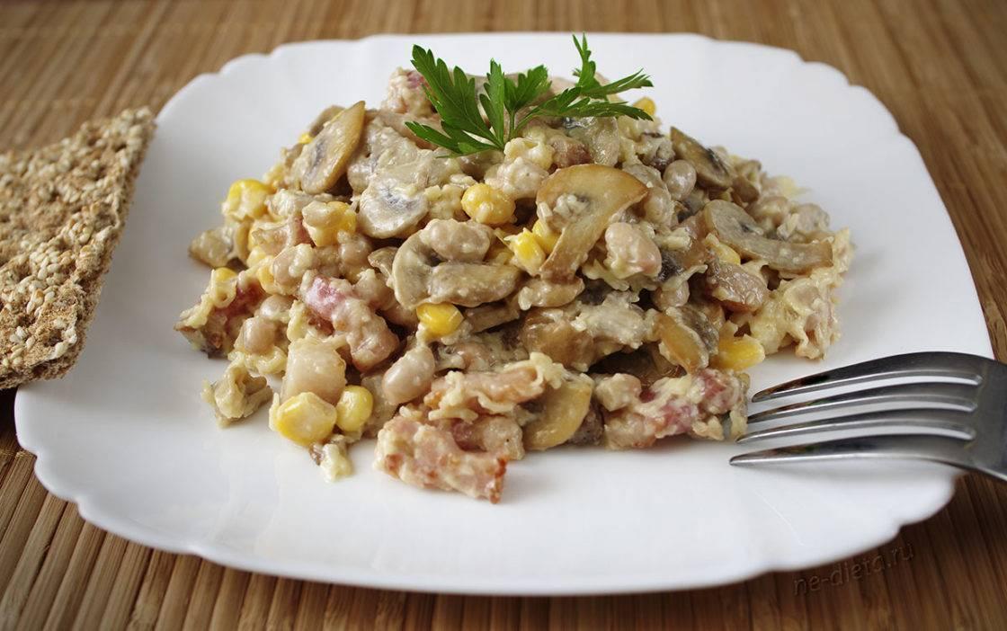 Салат с грибами сыром и ветчиной