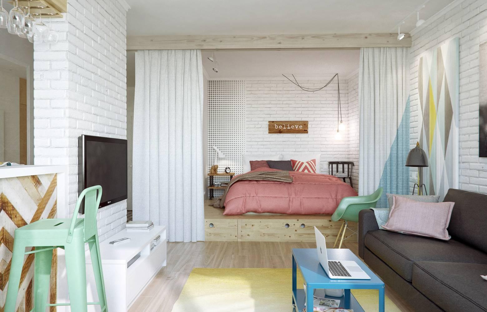 Дизайн гостиной спальни - фото современных идей оформления
