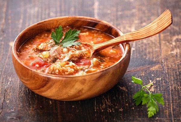 Суп из баранины с алычой