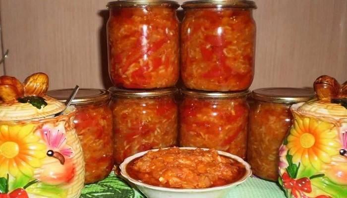 Острый салат из баклажанов на зиму
