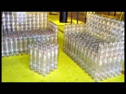 Использование пластиковых бутылок для создания садовой мебели (видео)