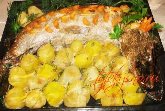 Щука запеченная в духовке со сметаной и овощами