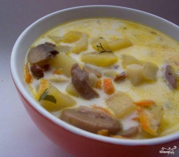 Сырный суп с плавленным сыром и грибами
