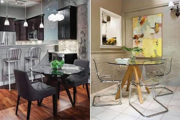 Стеклянные столы для кухни - выбор форм и ножек, модели, видео