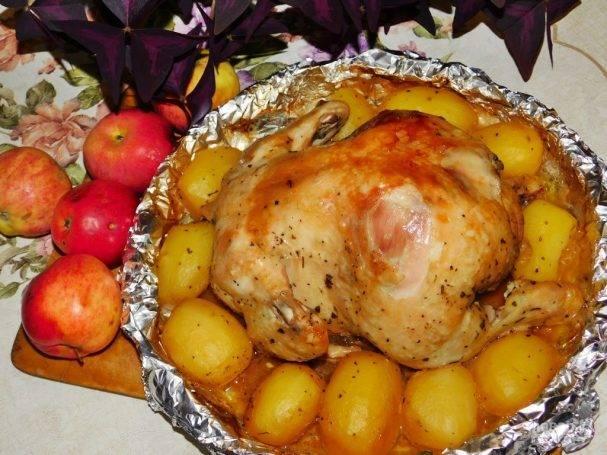 Курица с яблоками в духовке: поэтапный способ приготовления