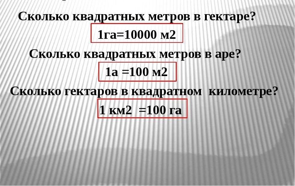 Перевод га в м2 для измерения площади фигур и земельных участков