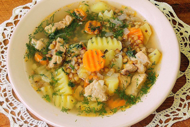 Суп картофелем и чечевицей