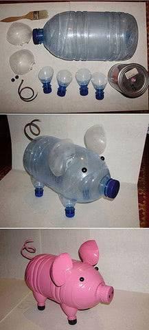 Смешные поросята из пластиковых бутылок