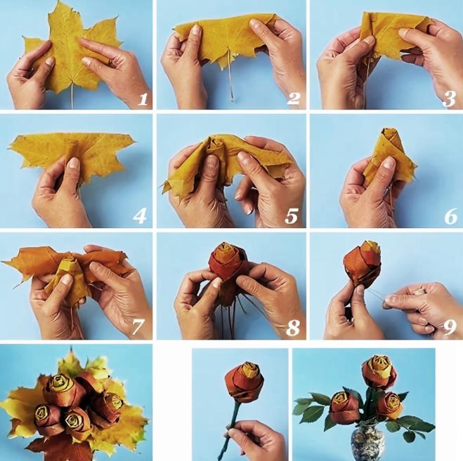 Розы и цветы из кленовых листьев своими руками пошагово: мастер класс. поделки — букеты цветов и роз из осенних листьев клена: фото
