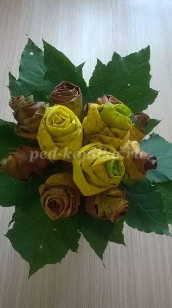Букет цветов из осенних листьев своими руками