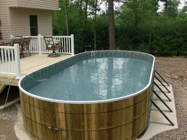 Оформление бассейна во дворе частного дома