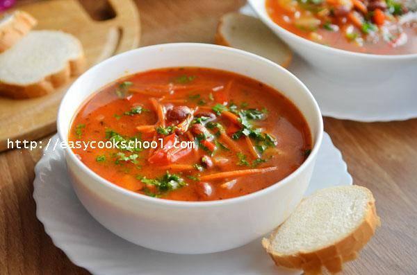 Суп из консервированной фасоли в томатном соусе