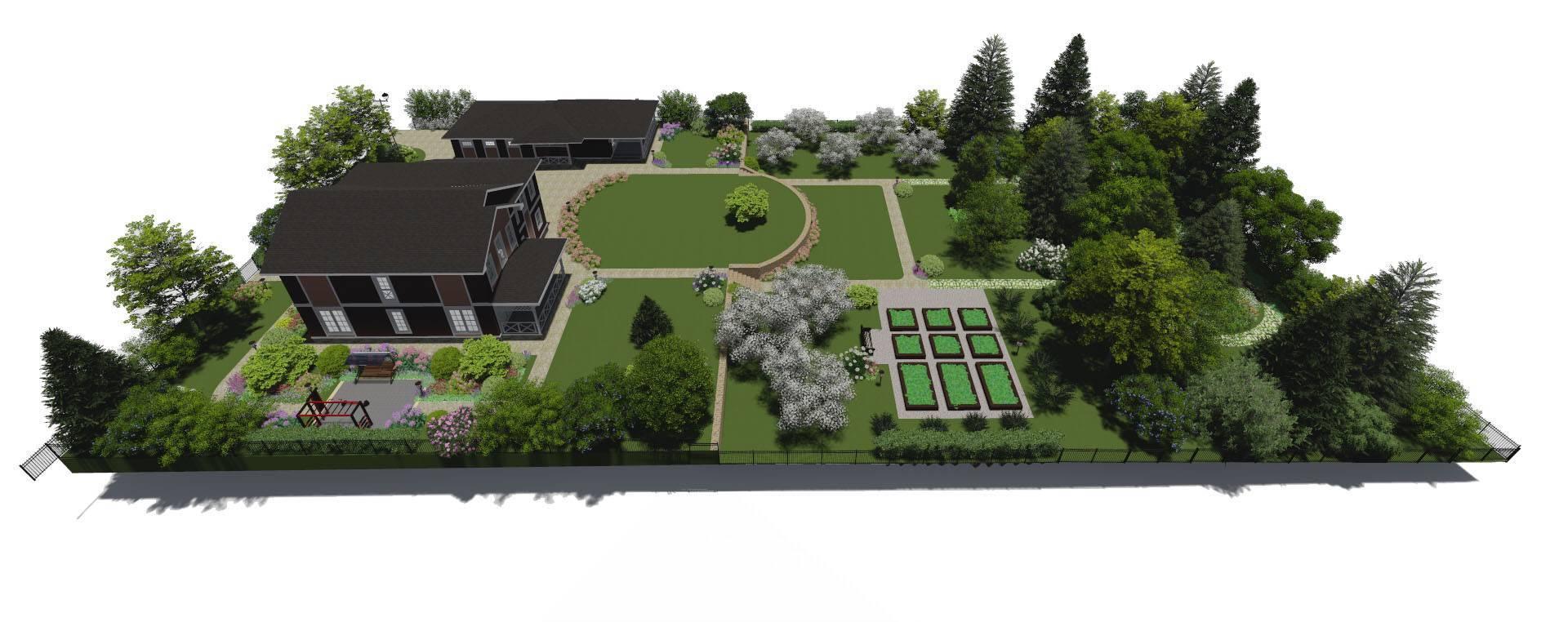 Дизайн участка площадью 12 соток с домом и баней