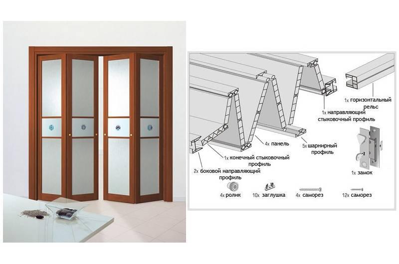 Складные двери межкомнатные книжка: преимущества и правила монтажа
