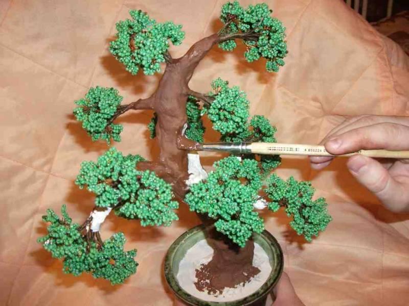 Бонсай из бисера: мастер-класс с пошаговыми фотодля начинающих