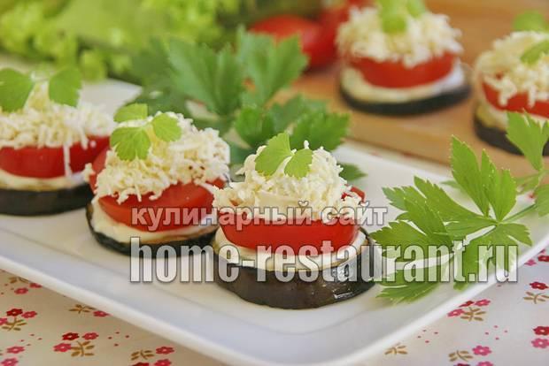 Закуска из баклажанов и помидоров с зеленью и майонезом
